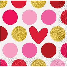 Gold Happy Valetine's Day Beverage Napkin