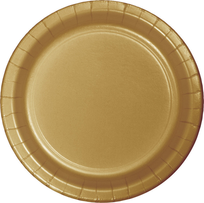 Gold Big Party Pack Paper Dessert Plates 50ct - BIG PARTY PACKS - Party Supplies - America Likes To Party
