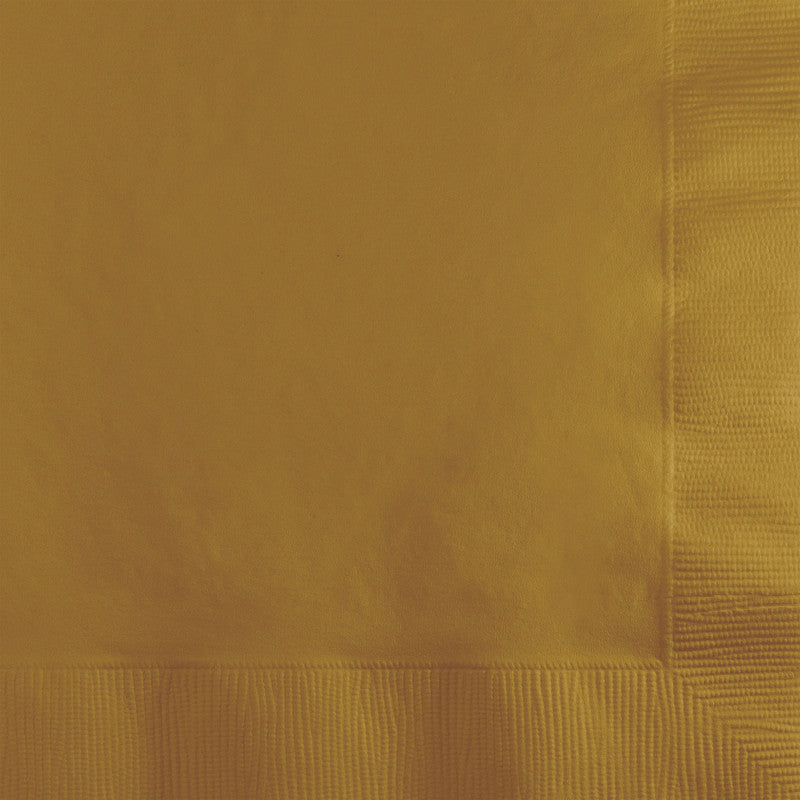Gold Big Party Pack Beverage Napkins 125ct - BIG PARTY PACKS - Party Supplies - America Likes To Party