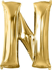 Giant Gold Letter N Balloon - MEGALOON NUMBERS/LETTERS - Party Supplies - America Likes To Party