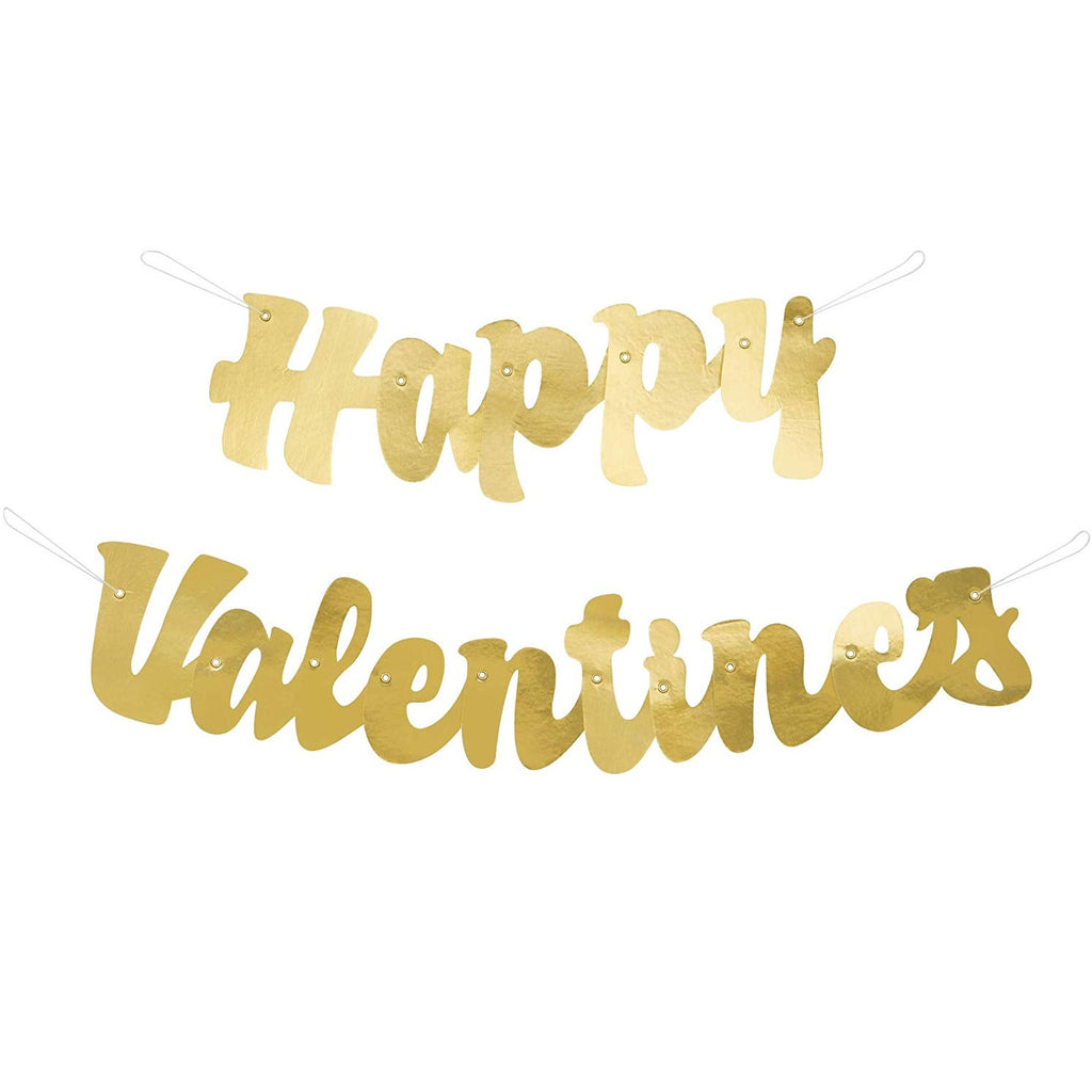 Gold Script Happy Valentines Banner