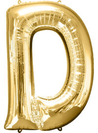 Giant Gold Letter D Balloon - MEGALOON NUMBERS/LETTERS - Party Supplies - America Likes To Party