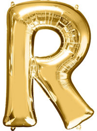 Giant Gold Letter R Balloon - MEGALOON NUMBERS/LETTERS - Party Supplies - America Likes To Party