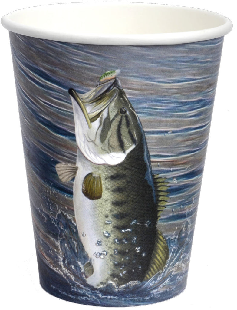 Gone Fishin' 12oz Paper Cups 8ct - MOSSY OAK - Party Supplies - America Likes To Party