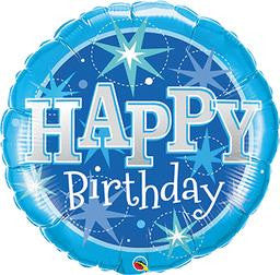 Jumbo Happy Birthday Blue Sparkles Balloon - GEN BDAY MYLARS - Party Supplies - America Likes To Party