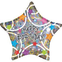 Jumbo Happy Birthday Holographic Star Balloon - GEN BDAY MYLARS - Party Supplies - America Likes To Party