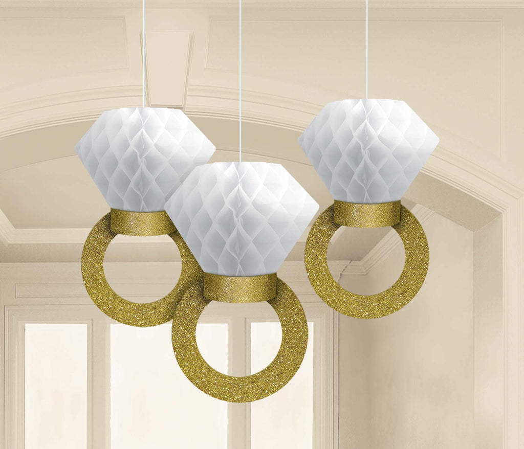Honeycomb Ring Decorations 3ct - DECORATIONS WEDDING - Party Supplies - America Likes To Party