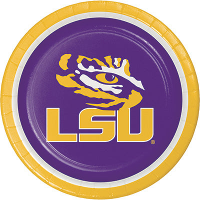 LSU Lunch Plates 8ct - COLLEGE SPORTS - Party Supplies - America Likes To Party