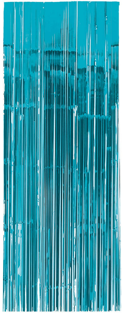 Caribbean Blue Metallic Door Curtain - METALLIC DECORATIONS - Party Supplies - America Likes To Party