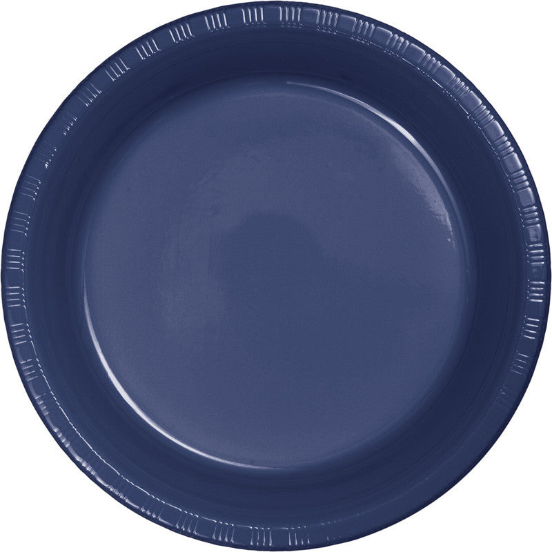 Navy Plastic Dessert Plates 20ct - BLUE NAVY - Party Supplies - America Likes To Party