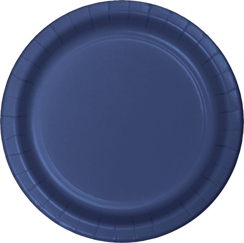 Navy Paper Dessert Plates 24ct - BLUE NAVY - Party Supplies - America Likes To Party
