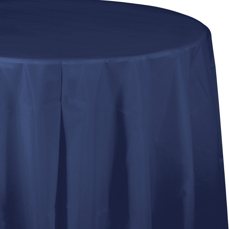 Navy Round Plastic Tablecover - BLUE NAVY - Party Supplies - America Likes To Party