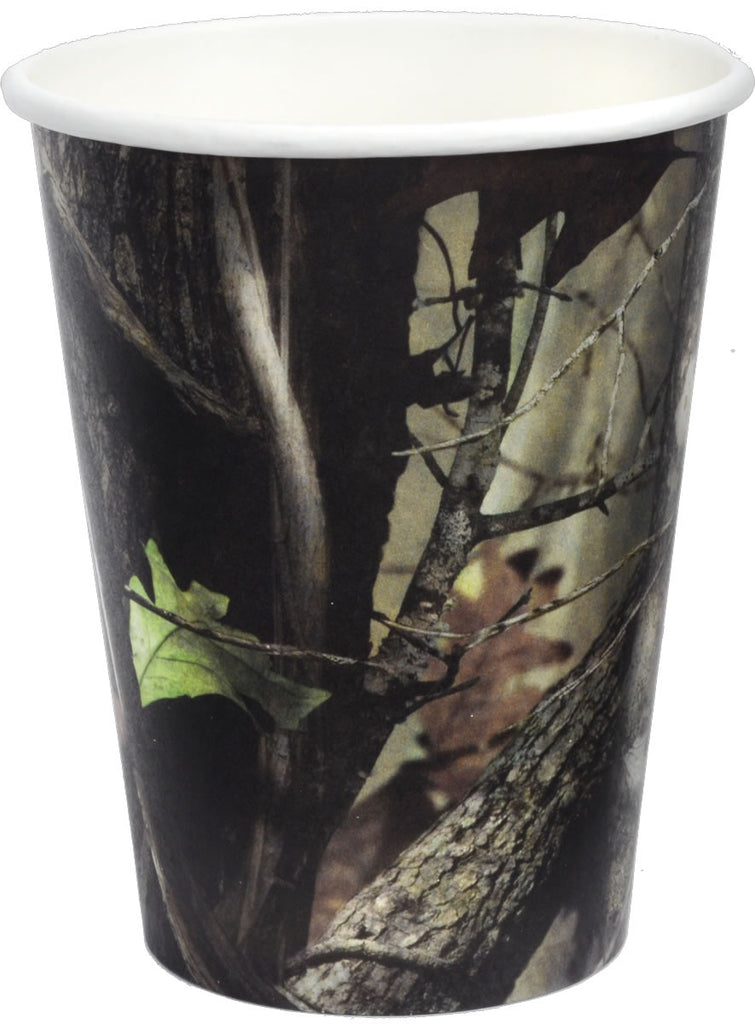 NEXT Camo 12oz Paper Cups 8ct - MOSSY OAK - Party Supplies - America Likes To Party