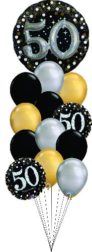 Sparkling 50 Balloon Floor Bouquet OB13