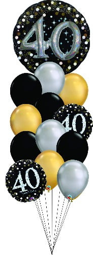 Sparkling Celebration 40th Birthday balloon bouquet