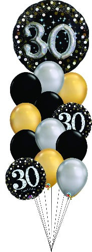 Sparkling Celebration 30th Birthday balloon bouquet