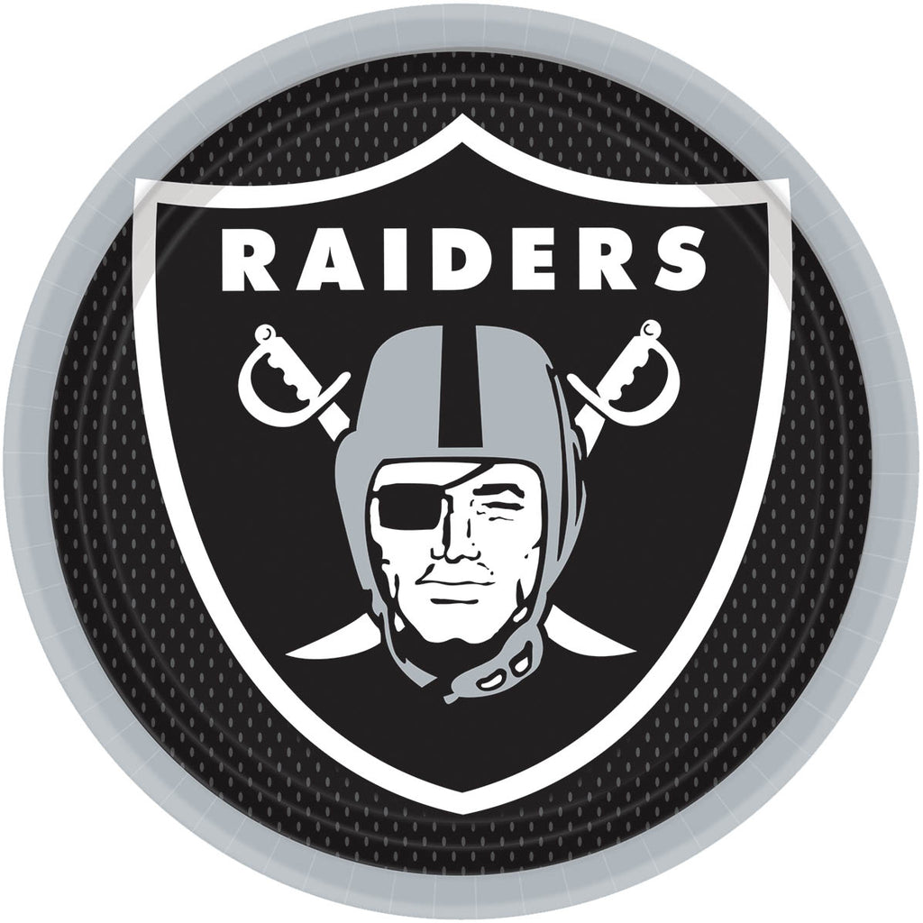 Oakland Raiders Lunch Plates 8ct - NFL - Party Supplies - America Likes To Party