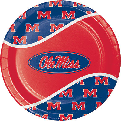 Ole Miss Lunch Plates 8ct - COLLEGE SPORTS - Party Supplies - America Likes To Party