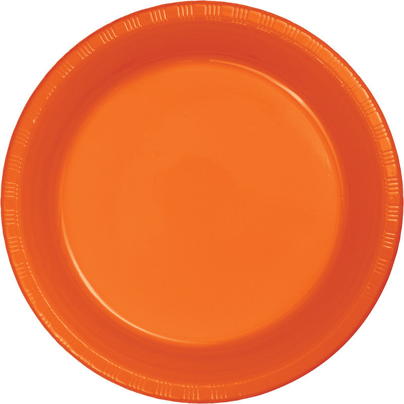 Orange Peel Big Party Pack Plastic Dessert Plates 50ct - BIG PARTY PACKS - Party Supplies - America Likes To Party
