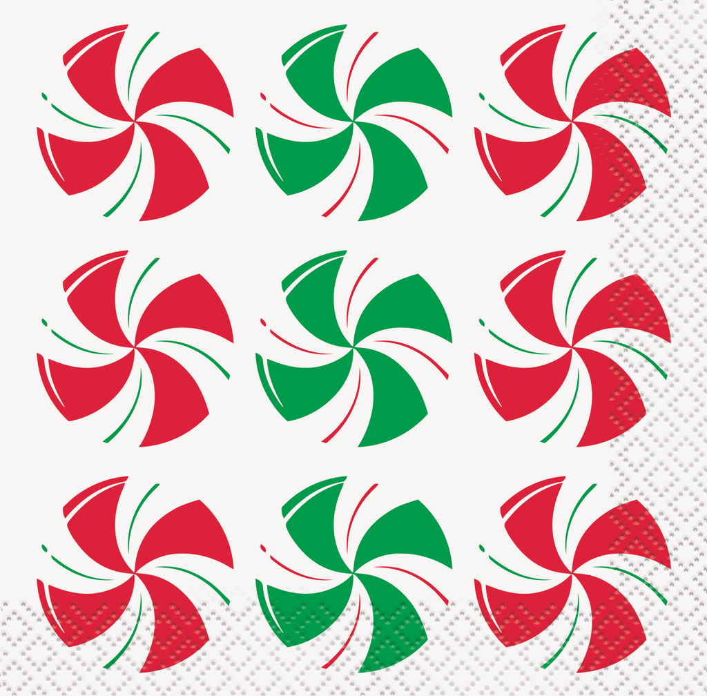 Peppermint Christmas Beverage Napkins