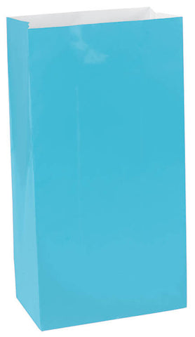 Caribbean Blue Paper Bags 12ct - FAVOR BAGS/CONTAINERS - Party Supplies - America Likes To Party