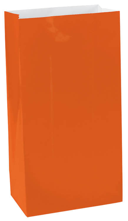 Orange Paper Bags 12ct - FAVOR BAGS/CONTAINERS - Party Supplies - America Likes To Party