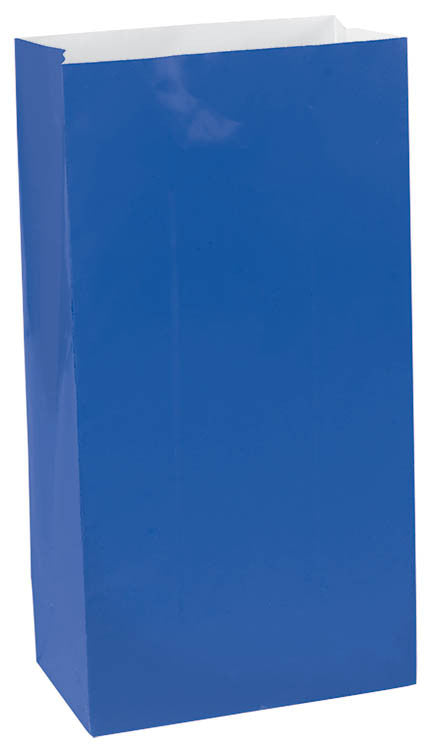 Royal Blue Paper Bags 12ct - FAVOR BAGS/CONTAINERS - Party Supplies - America Likes To Party