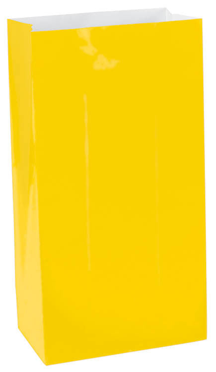 Yellow Paper Bags 12ct - FAVOR BAGS/CONTAINERS - Party Supplies - America Likes To Party