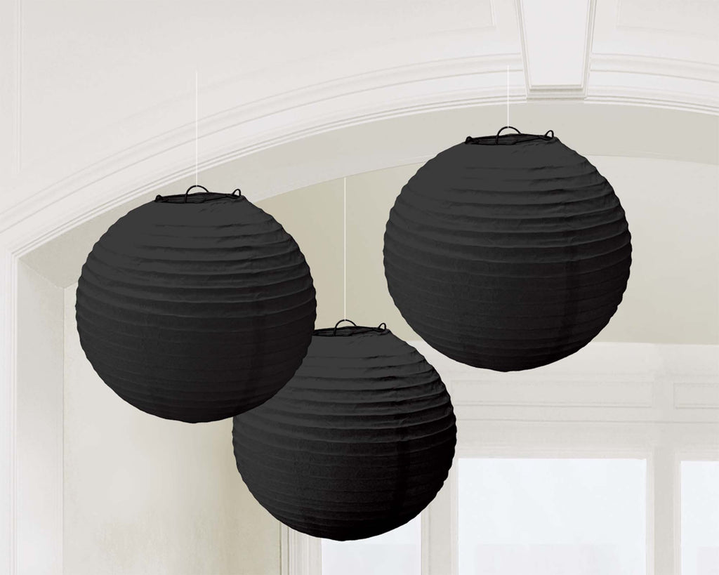 Black Paper Lanterns - PAPER TISSUE DECOR - Party Supplies - America Likes To Party