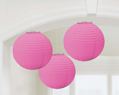Bright Pink Paper Lanterns - PAPER TISSUE DECOR - Party Supplies - America Likes To Party