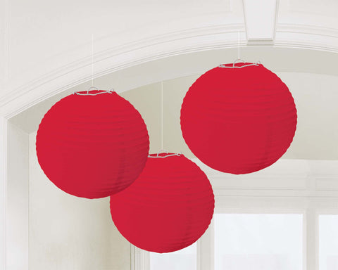 Red Paper Lanterns - PAPER TISSUE DECOR - Party Supplies - America Likes To Party