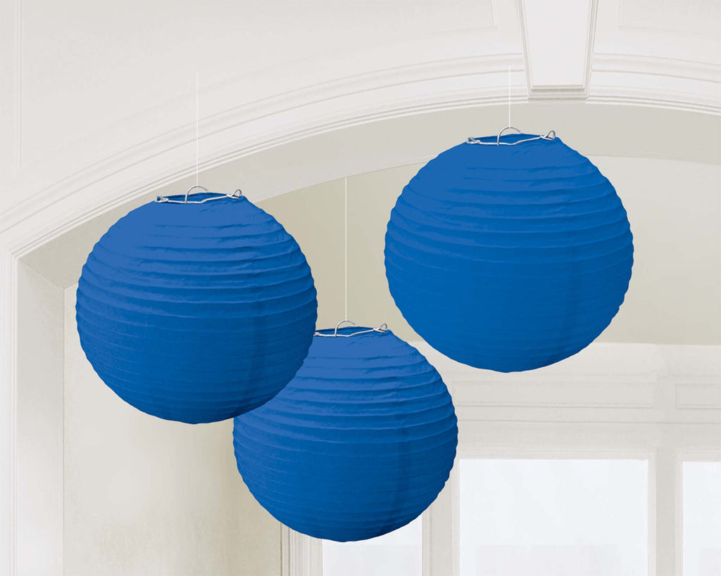 Royal Blue Paper Lanterns - PAPER TISSUE DECOR - Party Supplies - America Likes To Party