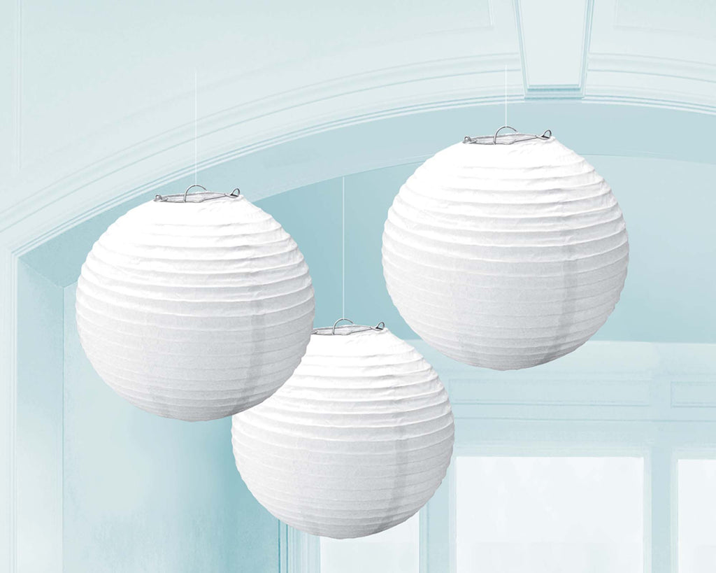White Paper Lanterns - PAPER TISSUE DECOR - Party Supplies - America Likes To Party