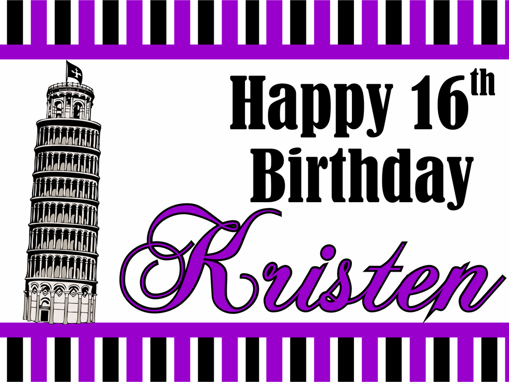 "Parisian Birthday Custom 18"" X 24"" Lawn Sign"