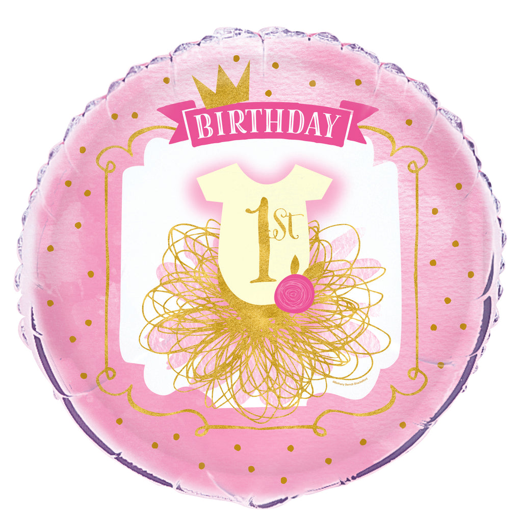 Pink & Gold 1st Birthday Balloon - BABY/1ST BDAY MYLARS - Party Supplies - America Likes To Party