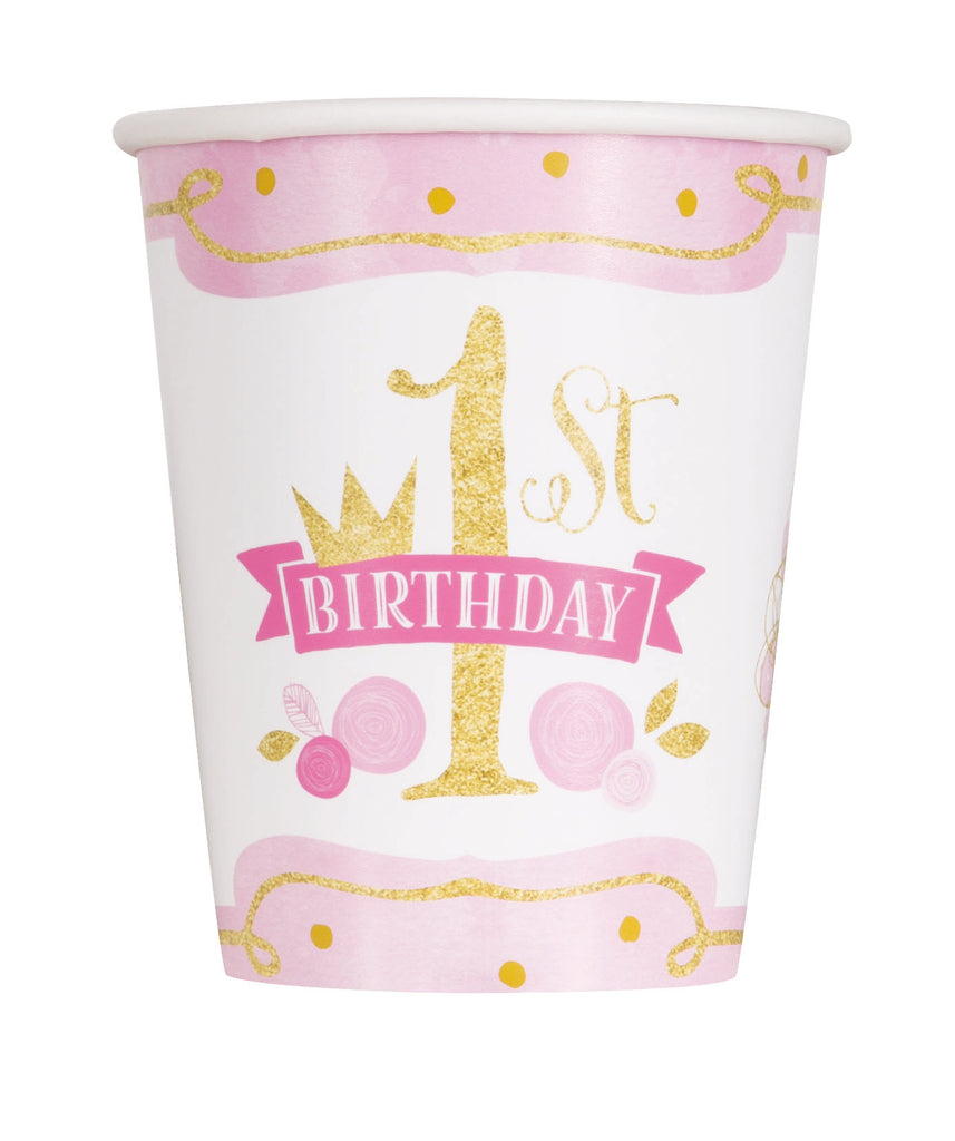 Pink & Gold 1st Birthday 9oz Paper Cups 8ct - 1ST BDAY GIRL - Party Supplies - America Likes To Party