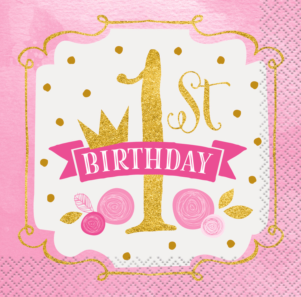 Pink & Gold 1st Birthday Beverage Napkins 16ct - 1ST BDAY GIRL - Party Supplies - America Likes To Party