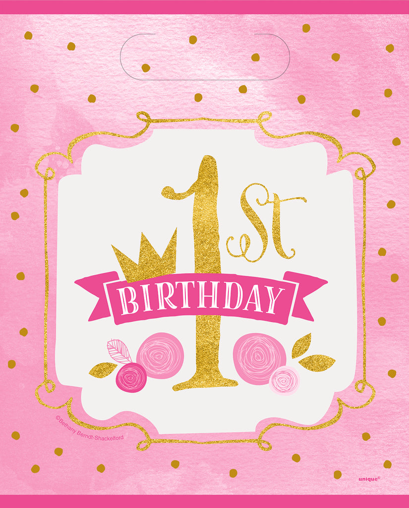 Pink & Gold 1st Birthday Loot Bags 8ct - 1ST BDAY GIRL - Party Supplies - America Likes To Party