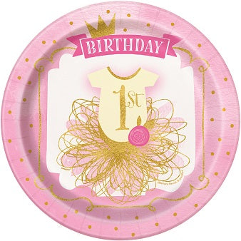 Pink & Gold 1st Birthday Lunch Plates 8ct - 1ST BDAY GIRL - Party Supplies - America Likes To Party