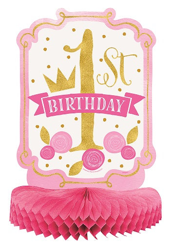 Pink & Gold 1st Birthday Honeycomb Centerpiece - 1ST BDAY GIRL - Party Supplies - America Likes To Party