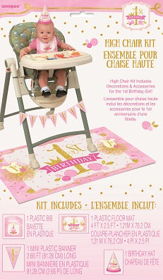 Pink & Gold 1st Birthday High Chair Decorating Kit - 1ST BDAY GIRL - Party Supplies - America Likes To Party