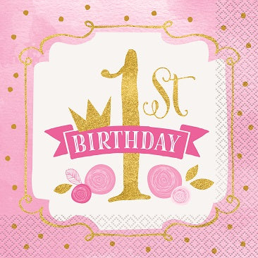 Pink & Gold 1st Birthday Lunch Napkins 16ct - 1ST BDAY GIRL - Party Supplies - America Likes To Party