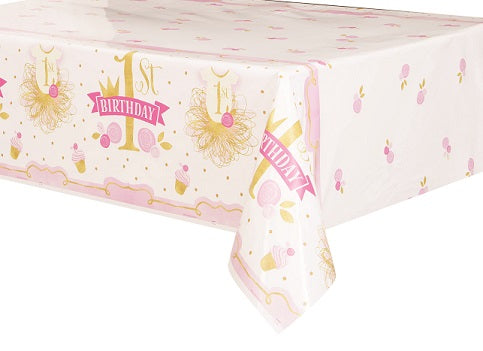 Pink & Gold 1st Birthday Plastic Tablecover - 1ST BDAY GIRL - Party Supplies - America Likes To Party