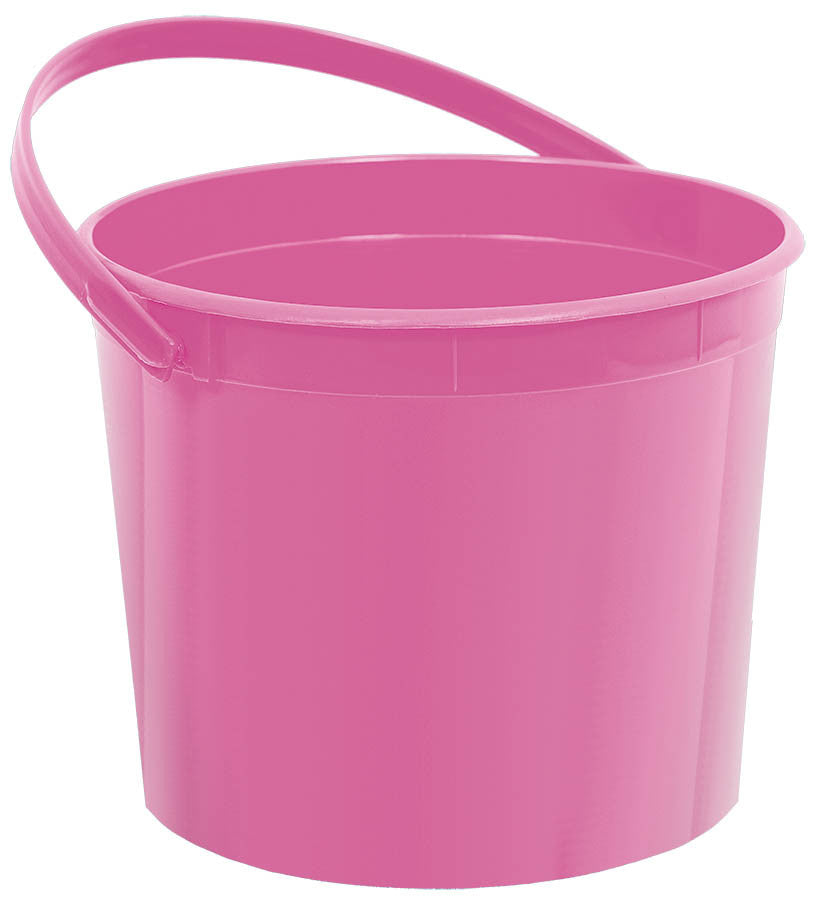 Bright Pink Plastic Bucket - FAVOR BAGS/CONTAINERS - Party Supplies - America Likes To Party