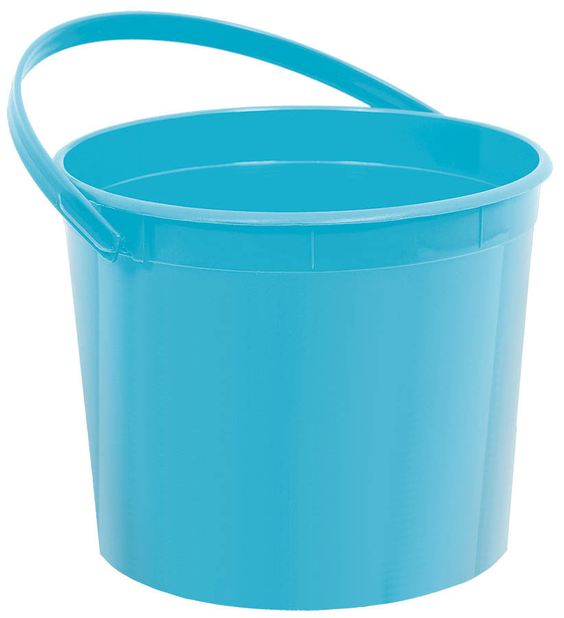 Caribbean Blue Plastic Bucket - FAVOR BAGS/CONTAINERS - Party Supplies - America Likes To Party