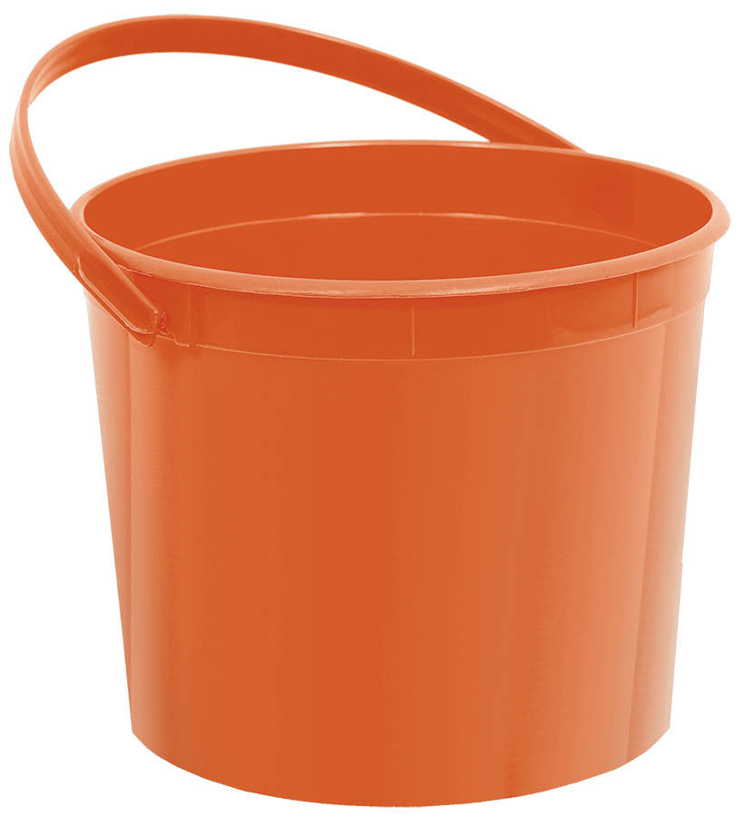 Orange Plastic Bucket - FAVOR BAGS/CONTAINERS - Party Supplies - America Likes To Party