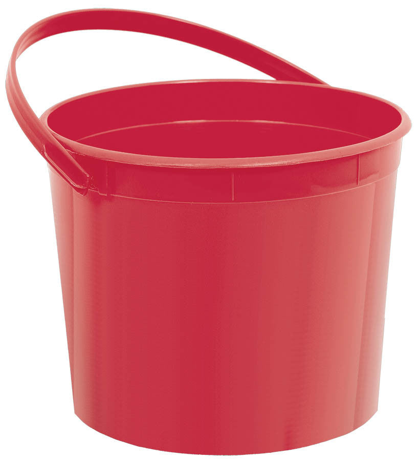 Red Plastic Bucket - FAVOR BAGS/CONTAINERS - Party Supplies - America Likes To Party