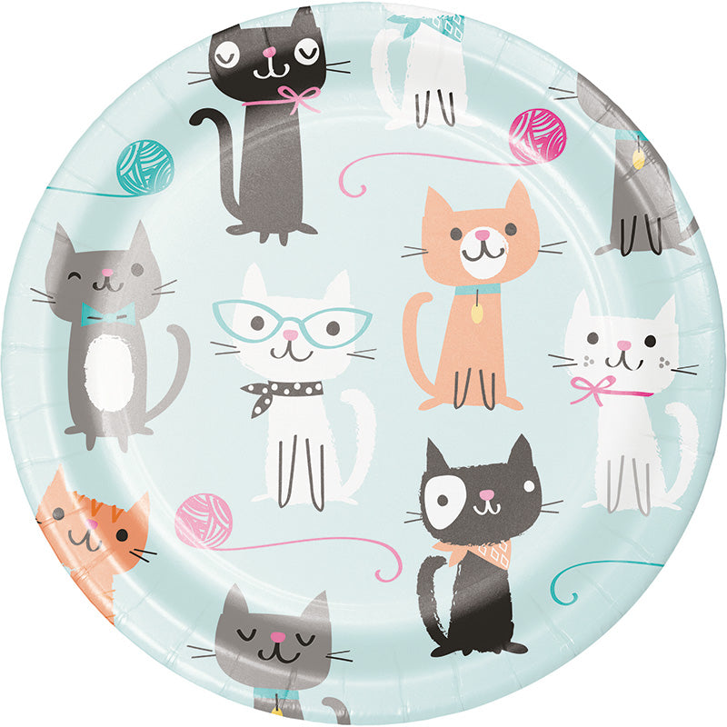 Purrfect Party Dessert Plates 8ct - PURFECT PARTY - Party Supplies - America Likes To Party