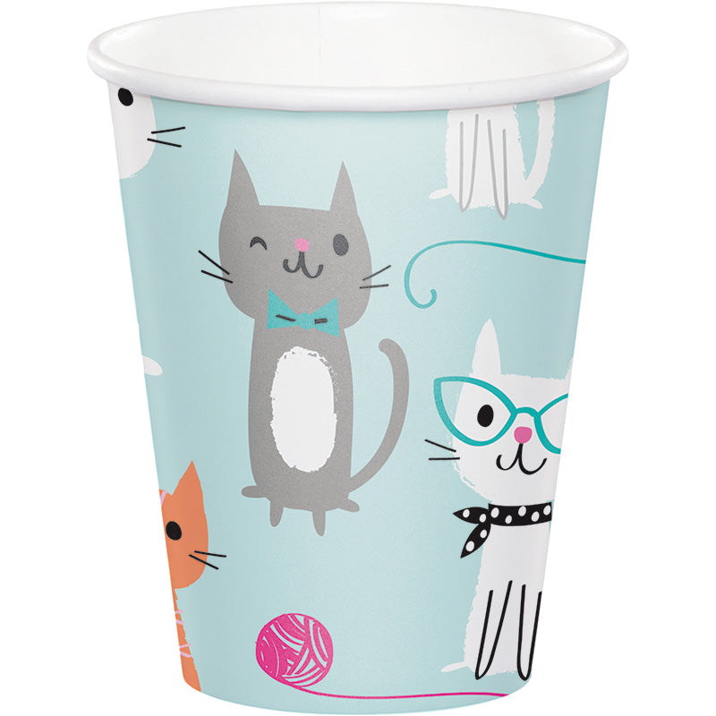 Purrfect Party 9oz Paper Cups 8ct - PURFECT PARTY - Party Supplies - America Likes To Party