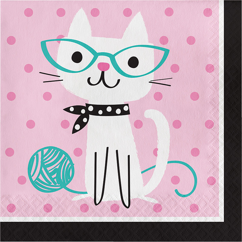 Purrfect Party Lunch Napkins 16ct - PURFECT PARTY - Party Supplies - America Likes To Party